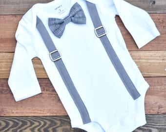 Baby Boy Clothes, Baby Bow Tie and Suspenders, Baby Boy Bodysuit, Baby Boy Outfit, Baby Wedding Outfit, Baby Boy Coming Home Outfit