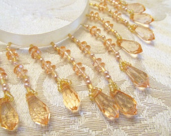 Vintage Styled Golden Blush Peach Graduated Teardrop 3 inch Graduated Medium Beaded Fringe Trim for Craft or Home Decorator Beaded Trim
