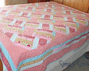 Handmade Quilt - Queen Pink Crossroads