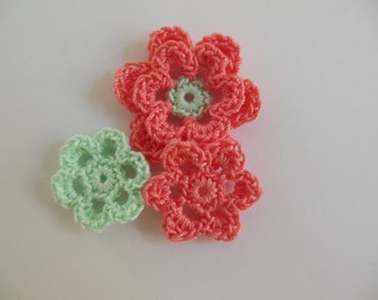 Crocheted Flower Combo - Coral and Mint Green - Cotton Flowers - Crocheted Flower Appliques - Crocheted Flower Embellishments