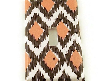 Light Switch Cover Wall Decor  Switchplate  Single Light Switch Plate in Ikat Coral and Gray (116S)