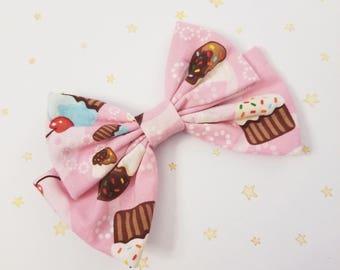 Kawaii Cupcakes Hair Bow Clip - Fairy Kei Decora Pastel Goth Harajuku inspired