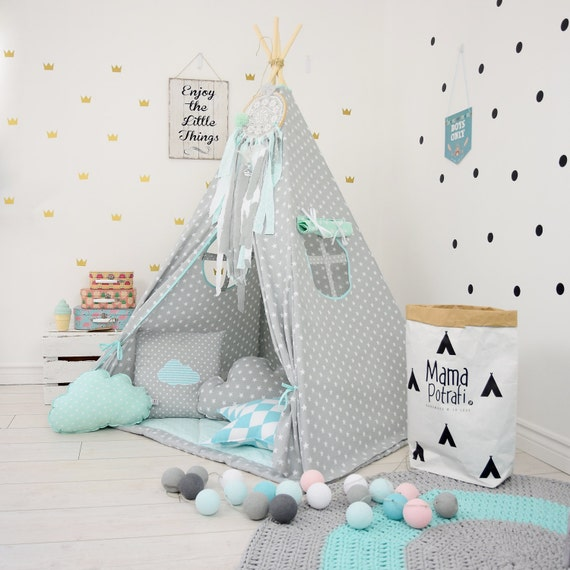 jeu tente tipi gris menthe tipi tente tipi toile menthe. Black Bedroom Furniture Sets. Home Design Ideas