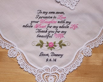Mother of Bride Wedding Handkerchief by Embroidered Personalized  (#18040518)