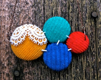 Lace and Corduroy Handmade Primary Colored Covered Cluster Necklace