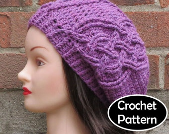 CROCHET HAT PATTERN Instant Download Pdf - Eithne Cabled Slouchy Beret Tam Beanie Womens Teens- Permission to Sell English Only
