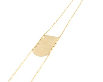 Long Modern Necklace, 14k Gold Fill Necklace, Metal Disc Necklace, Gift for Her, Summertime Jewelry, Long Boho Necklace - Scale Necklace