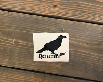 Nevermore Decal, Edgar Allan Poe, Raven Vinyl Decal, Yeti Decal, Laptop Decal, Cell Phone Sticker, Car Decal