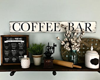 Coffee Sign - Coffee Bar - Coffee Bar Sign - Coffee Decor - Coffee Bar Decor - Kitchen Sign - Kitchen Coffee Sign - Vintage Coffee Sign