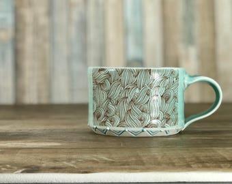 Petite mug: Porcelain mug aquamarine glazed mug wave pattern stamped texture wheel thrown pottery mug turquoise mug short pottery mug 9 oz