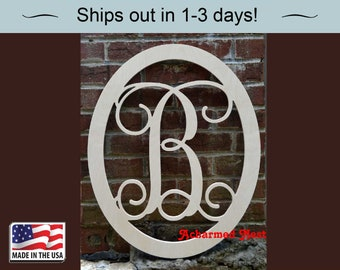 20 inch Wooden Monogram with Oval border Single Initial Monogram Front Door Monogram & Front door monogram | Etsy