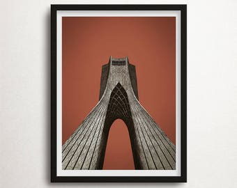 Tower Illustration Print, Azadi Tower, Persian Art Poster, Persia Wall Art, Tehran Monument, Large Size, Instant Download, Wall Art Decor