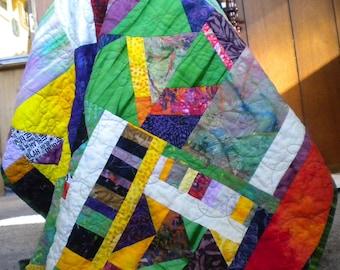 Bright Baby Quilt, Jewel tone batik quilted, modern handmade lap, rainbow improv, wheelchair throw, fiber wall hanging, purple green blanket