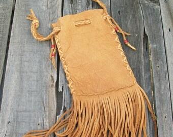 Fringed  medicine bag ,  Fringed buckskin cedar bag ,  Shaman's bag , Leather wrist bag