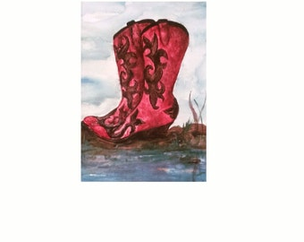 Southwestern ~ Western Fine Art Print  Cowgirl Boots Series  Ruby Rose