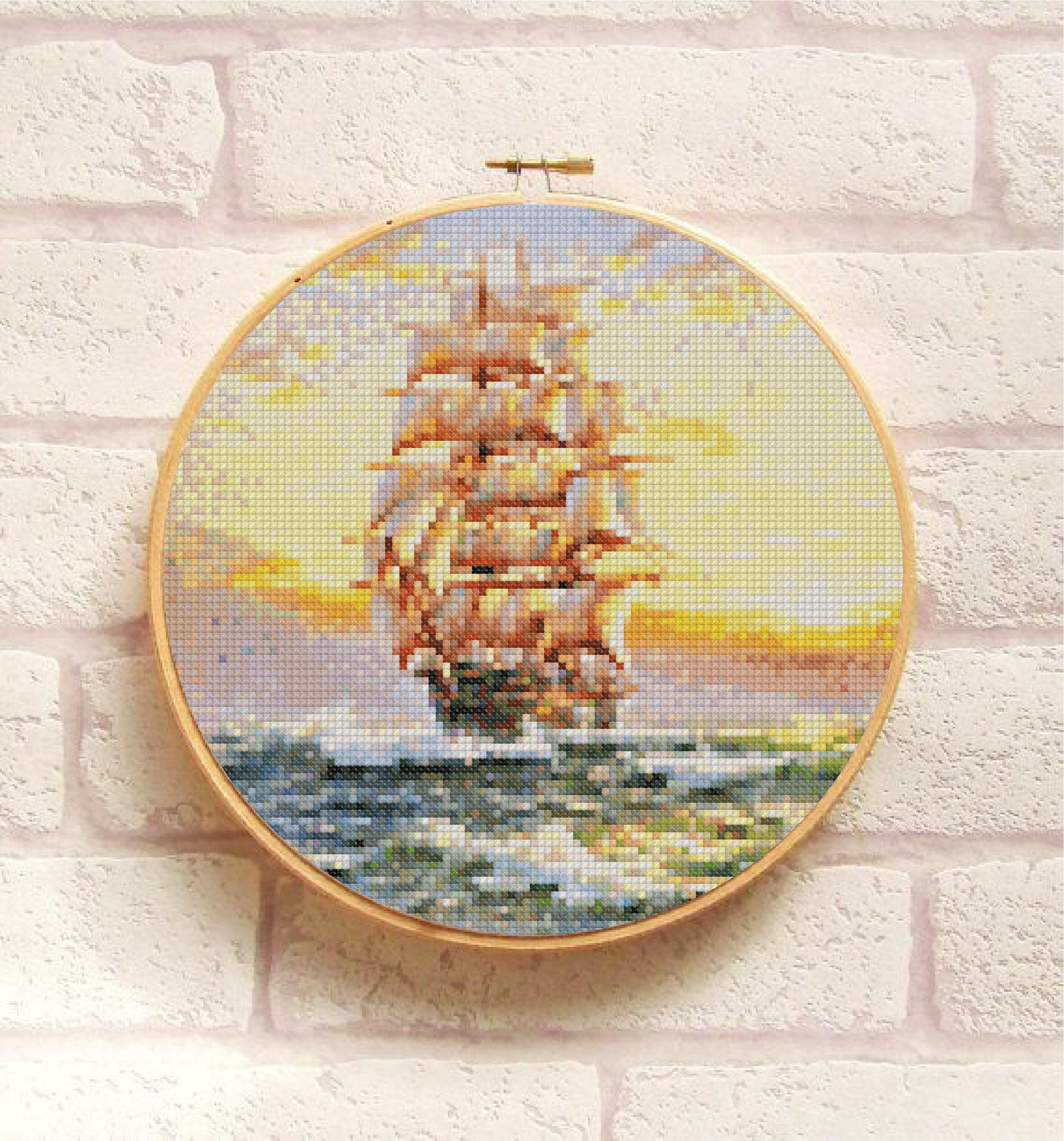 SHIP Cross Stitch Pattern PDF, Modern Picture Embroidery Chart ...