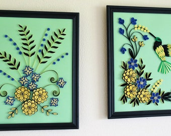 pair of quilling home decor frames