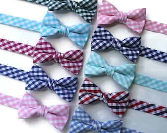 Boys Gingham Bow Tie~Boys Bow Tie~Mint Bow Tie~Nautical Bow Tie~Cotton Bow Tie~Wedding Bow Tie~Forest Green~Magenta~Mint~Bubble Gum~Taffy