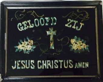 Antique European Folk Art Religion Rare Geloofd Zij Jesus Christus Amen