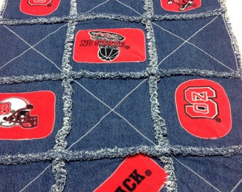 NC State Wolfpack Denim Rag Blanket II