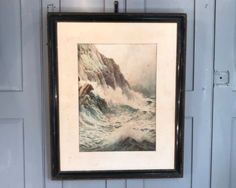 Antique watercolour seascape Cornish coastal scene by Rubens Southey