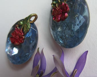 Exclusive.. Flower With Large Sapphire Blue Crystal Drop With Hoop
