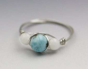 Larimar Blue Pectolite & White Moonstone Sterling Silver Wire Wrapped Bead Ring - Made to Order, Ships Fast!