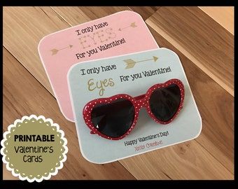 Eyes for You - Valentine's Day - Birthday - Sunglasses - Shades - Printable - Card - Favor Tag - Gold - PDF - INSTANT DOWNLOAD Editable