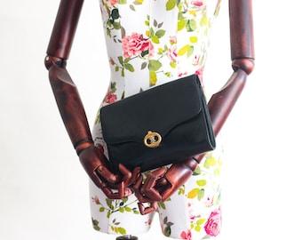Vintage Celine black leather clutch bag
