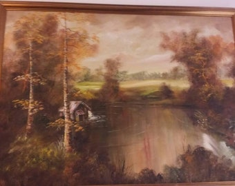 Oil Painting of a Beautiful Tranquil Lake with trees a  cottage and fields