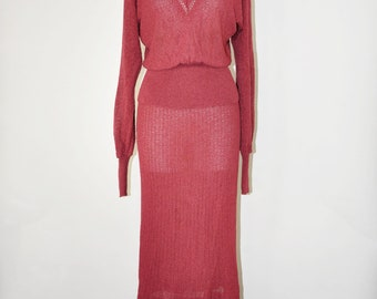 70s burgundy knit dress / two piece sweater dress / jersey top and skirt set