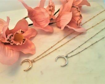 Horn necklace, Half moon necklace, moon necklace, crescent moon necklace, double horn necklace, crescent moon, gold horn necklace, necklace