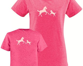 Mothers Day Daughter T Shirt - Horse Pair Matching Shirts, Tshirt Set - T shirt gift, mom child, mom shirt gift - Mothers Day Cowgirl Pony