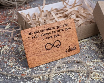 Wood Wallet Insert Card, Mahogany Custom Engraved Insert card, Personalized Wooden big love insert card, boyfriend gift, wood wedding tag
