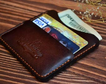 Personalized Mens Leather Wallet Men's Leather CardHolder Personalized Card holder Leather Card Wallet Mens Leather Wallet Gift for mens