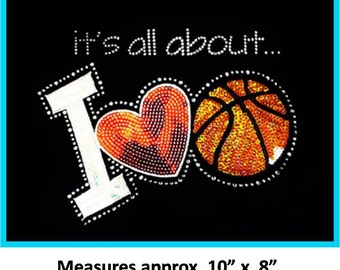 CLOSEOUT SALE It's All About Basketball Sequins and Rhinestone Transfer Applique ONLY