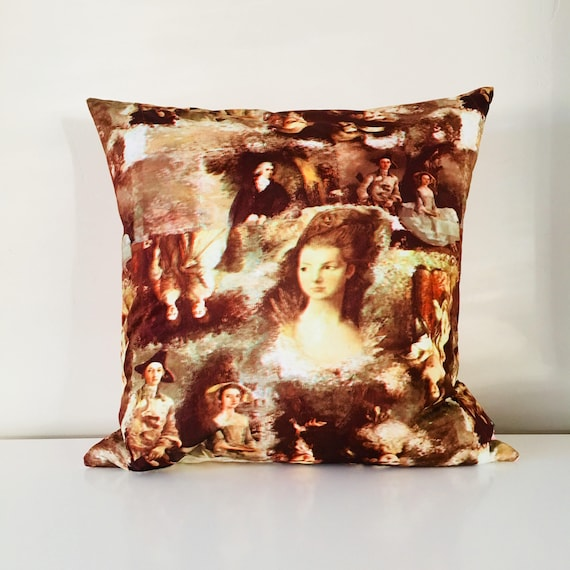 "Boho Brown Vintage Portrait Pillow 18""x18"" Square Cushion Cover Baroque Era Art Portrait Painting"