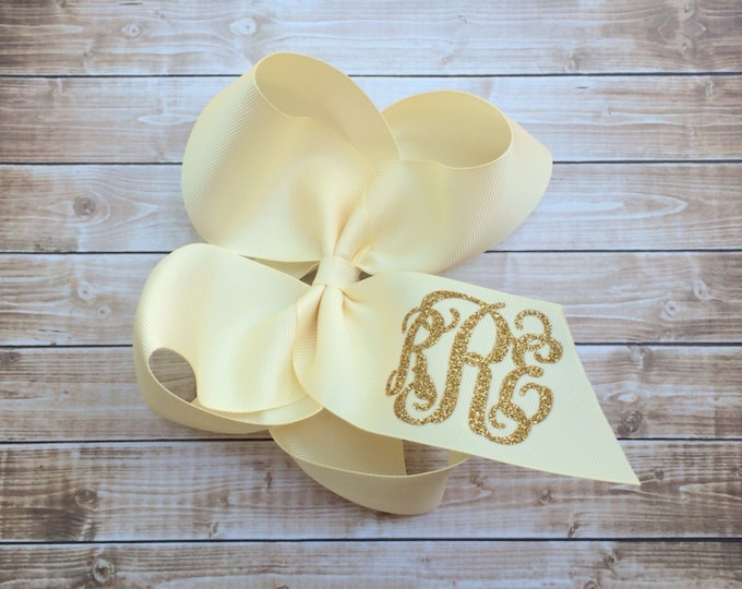 Glitter Monogram Hair Bow, Hair Bows for girls, Monogrammed gifts, Big Cheer Bows, Hair Bows for Girls, Boutique Hair Bows, Hair Accessory