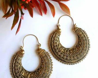 Hoop Earrings, Brass Earrings, Tribal Earrings, Brass hoop Earrings, Boho Earrings. Indian Earrings. Ethnic Earrings. Earrings. Handmade.