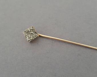 Antique Victorian 10K Rosey Gold, Pyrite / Druzy / Fools Gold / Quartz Geo Stickpin - Choose Your Customization
