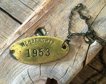 vintage brass membership tag necklace