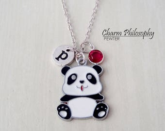 Panda Bear Necklace - Baby Panda Charm - Antique Silver Jewelry - Personalized Monogram Initial and Birthstone