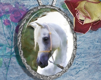White Arabian Horse Jewelry Pendant Necklace Handcrafted Ceramic