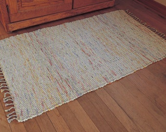 "Hand Woven Rag Rug Pale Yellow Cotton 26"" x 48"""