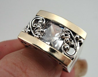 Massive 925 Silver combined Yellow Gold inlaid CZ Ring size 8, White CZ Ring, Yellow Gold Ring, 9k Yellow Gold Ring, (s r1658