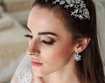 Wedding Flower tiara Bridal diadem Wedding crown Swarovski Bridal Crown Flower Bridal Tiara Flower crown Bridal hair accessories