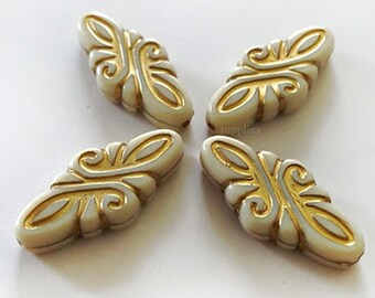 30x14mm Ivory Cream Beige Gold Etched Metal enlaced swirl design acrylic beads - 10pcs