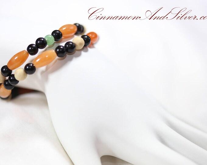 Orange and Black Gemstone Adjustable Memory Wire Bangle Bracelet, Aventurine Gemstone Memory Wire Bracelet, Coil Wrap Gemstone Bead Bracelet