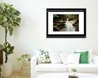30x40 Wall Print-Nature Photo-New Hampshire-Woodland Wall Decor-Waterfall Photography-Living Room Art-Archival Print-Sofa Art-Sabbaday Falls