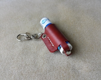 Handmade leather lip balm sleeve in beautiful deep red with swivel trigger clasp Leather lip balm holder keychain Comes with 1 Chapstick